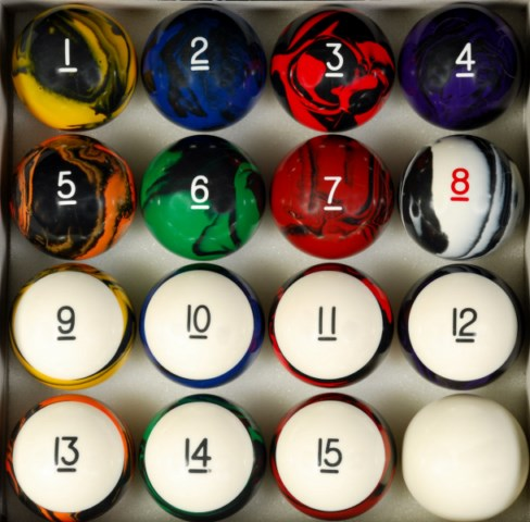 Tech Style Pool Table Billiard Ball Set